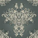Teste padrão barroco do fundo sem emenda do vintage Fotografia de Stock