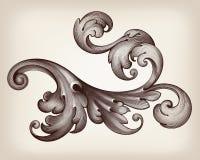 Teste padrão barroco do rolo do quadro do vintage do vetor Fotografia de Stock