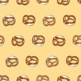 Teste padrão bege do pretzel ilustração stock