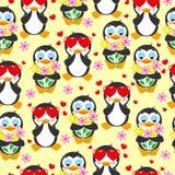 Teste padrão bonito Ame o pinguim e o pinguim com o ramalhete das flores Fotografia de Stock Royalty Free