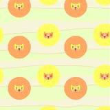 Teste padrão bonito com leões Foto de Stock
