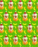 Teste padrão bonito com o macaco em um chapéu e em bananas ilustração stock