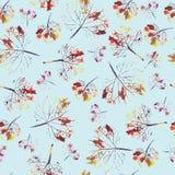 Teste padrão bonito da aquarela das folhas Feito a mão pintado ilustração stock