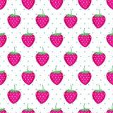Teste padrão bonito da morango do vetor Fundo sem emenda com morangos cor-de-rosa Imagem de Stock Royalty Free