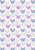 Teste padrão bonito da repetição dos gatos foto de stock royalty free