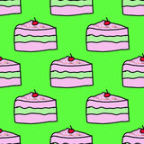 Teste padrão bonito da repetição dos seamles da cereja do sweety dos bolos Imagens de Stock