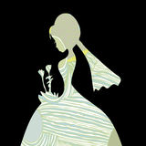 Teste padrão bonito da silhueta da noiva Imagem de Stock Royalty Free