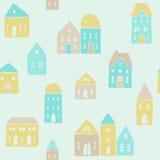 Teste padrão bonito das casas Fotos de Stock