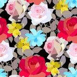 Teste padrão bonito das rosas, dos narcisos amarelos e de flores do cosmos Ilustração do vetor ilustração do vetor