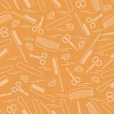Teste padrão bonito das tesouras para o tratamento de mãos e o pedicure, pentes, prego ilustração royalty free