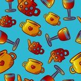 Teste padrão bonito de ilustrações do kitchenware e dos utensílios Elementos para o desi imagem de stock