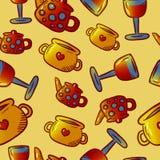 Teste padrão bonito de ilustrações do kitchenware e dos utensílios Elementos para o desig imagens de stock royalty free