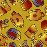 Teste padrão bonito de ilustrações do kitchenware e dos utensílios Elementos para o desig imagem de stock