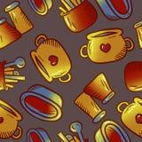 Teste padrão bonito de ilustrações do kitchenware e dos utensílios Elementos para o desig imagens de stock