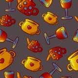 Teste padrão bonito de ilustrações do kitchenware e dos utensílios Elementos para o desig fotografia de stock royalty free