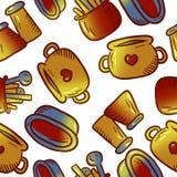 Teste padrão bonito de ilustrações do kitchenware e dos utensílios foto de stock royalty free