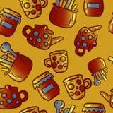 Teste padrão bonito de ilustrações do kitchenware e dos utensílios Partido de chá fotografia de stock