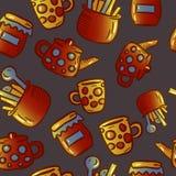 Teste padrão bonito de ilustrações do kitchenware e dos utensílios Partido de chá imagem de stock royalty free