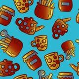 Teste padrão bonito de ilustrações do kitchenware e dos utensílios Partido de chá fotografia de stock royalty free