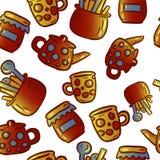 Teste padrão bonito de ilustrações do kitchenware e dos utensílios Partido de chá foto de stock royalty free