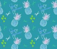Teste padrão bonito do abacaxi com verão fresco do texto e coração no fundo azul ilustração stock