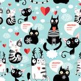 Teste padrão bonito do amante do gato Foto de Stock Royalty Free