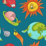 Teste padrão bonito do espaço para crianças Planetas e sol imagens de stock