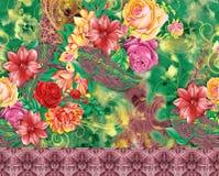 Teste padrão bonito do fundo da flor Imagens de Stock Royalty Free