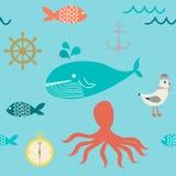 Teste padrão bonito do mar e da vela Fotos de Stock