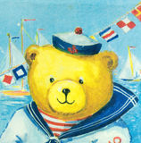 Teste padrão bonito do marinheiro do urso no guardanapo Fotografia de Stock