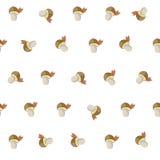 Teste padrão bonito do outono dos desenhos animados com cogumelos brancos Fotos de Stock