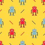 Teste padrão bonito do robô em um fundo amarelo ilustração royalty free