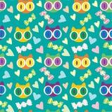 teste padrão bonito do vetor de turquesa dos gatinhos Fotografia de Stock Royalty Free