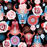 Teste padrão bonito do vetor dos retratos dos touros Foto de Stock Royalty Free