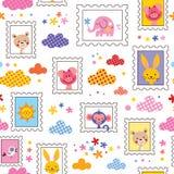 Teste padrão bonito dos animais do bebê Imagens de Stock Royalty Free