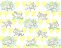 Teste padrão bonito dos carneiros com a nuvem no fundo amarelo dos corações Imagem de Stock Royalty Free