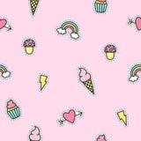 Teste padrão bonito dos objetos com fundo cor-de-rosa Foto de Stock Royalty Free