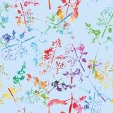 Teste padrão bonito louco da aquarela das folhas Imagem de Stock