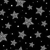 Teste padrão bonito sem emenda com as estrelas brancas feitas dos pontos e dos círculos no fundo preto Ilustração do vetor ilustração stock