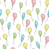 Teste padrão bonito sem emenda com os balões dos desenhos animados de cores macias diferentes ilustração do vetor