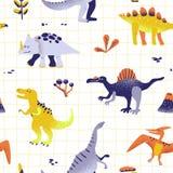 Teste padrão bonito sem emenda dos dinossauros dos desenhos animados textura do fundo de Dino do bebê Contexto para a matéria têx ilustração stock