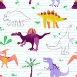 Teste padrão bonito sem emenda dos dinossauros dos desenhos animados textura do fundo de Dino do bebê Contexto para a matéria têx ilustração do vetor