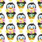 Teste padrão bonito sem emenda Pinguim com o ramalhete das flores em um fundo branco Imagens de Stock