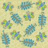 Teste padrão, borboletas decorativas Fotos de Stock
