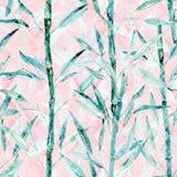 Teste padrão botânico sem emenda Ramos de um bambu em um fundo cor-de-rosa ilustração royalty free