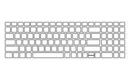 Teste padrão branco da silhueta do teclado, molde O vetor do computador isolou-se Versão preta Vista superior ilustração royalty free