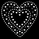 Teste padrão branco do coração no fundo preto Fotografia de Stock