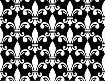 Teste padrão branco do símbolo da flor de lis no preto Fotos de Stock