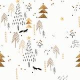 Teste padrão branco e dourado do Natal imagens de stock royalty free