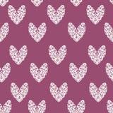 Teste padrão branco roxo do coração Imagens de Stock Royalty Free